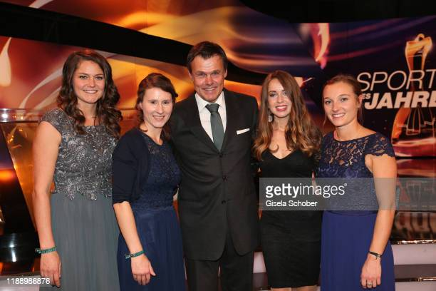 Coach of the year Andreas Bauer and the ladies of the ski jumping team Carina Vogt Ramona Straub Juliane Seyfarth Katharina Althaus during the...