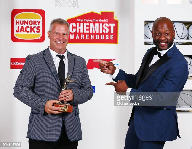 Coach Of The year Dean Vickerman lets Corey ''Homicide'' Williams pose with him at the 2018 NBL MVP Awards Night at Crown Palladium on February 27...