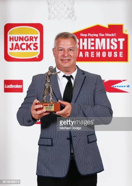 Coach Of The year Dean Vickerman poses at the 2018 NBL MVP Awards Night at Crown Palladium on February 27 2018 in Melbourne Australia