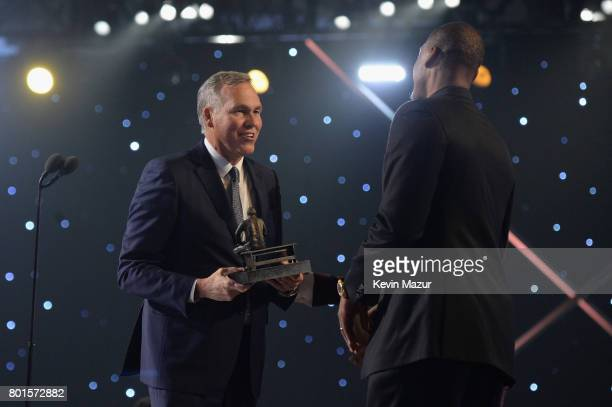 Coach of the Year Mike D'Antoni of the Houston Rockets and Paul Pierce speak onstage during the 2017 NBA Awards Live on TNT on June 26 2017 in New...