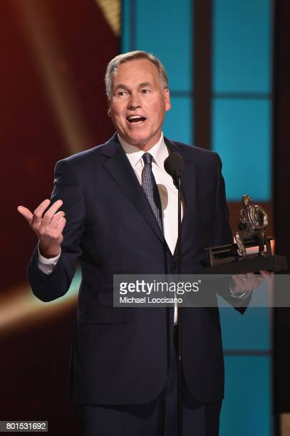Coach of the Year Mike D'Antoni of the Houston Rockets speaks on stage during the 2017 NBA Awards Live On TNT on June 26 2017 in New York City...