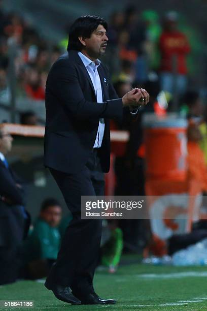 Coach of Toluca Jose Cardozo reacts during the 12th round match between Toluca and Santos Laguna as part of the Clausura 2016 Liga MX at Nemesio Diez...