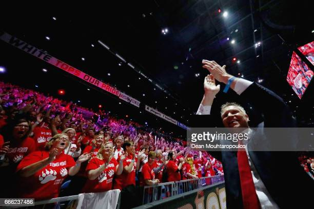 Coach of Top Quoration Jan Niebeek leads the celebration in front of the fans after victory in the Dutch Korfball League Final between BlauwWit and...