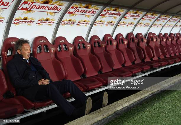 Coach of Torino FC Sinisa Mihajlovic looks on during the Serie A match between Torino FC and SSC Napoli at Stadio Olimpico di Torino on December 16...