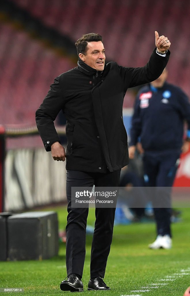 Coach of Udinese Calcio Massimo Oddo gestures during the TIM Cup match between SSC Napoli and Udinese Calcio at Stadio San Paolo on December 19, 2017 in Naples, Italy.