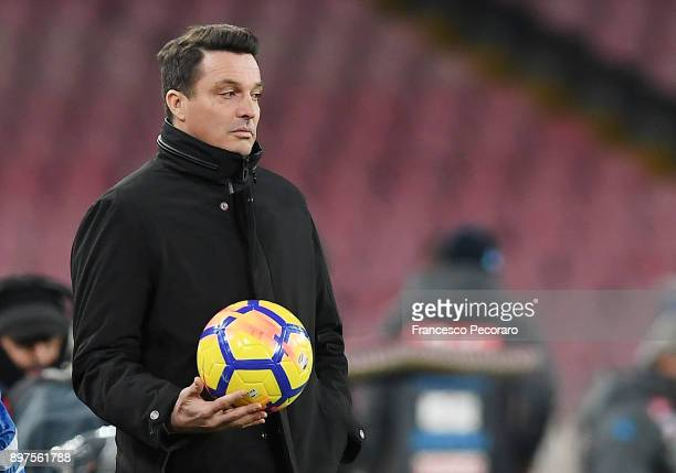 Coach of Udinese Calcio Massimo Oddo gestures during the TIM Cup match between SSC Napoli and Udinese Calcio at Stadio San Paolo on December 19 2017...