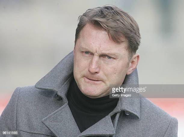 Coach of Unterhaching Ralph Hasenhuettl is seen during the 3Liga match between SpVgg Unterhaching and Bayern Muenchen II at the Generali Sportpark on...