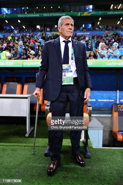 Coach of Uruguay Oscar Washington Tabarez looks on from the sidelines during the Copa America Brazil 2019 group C match between Uruguay and Japan at...