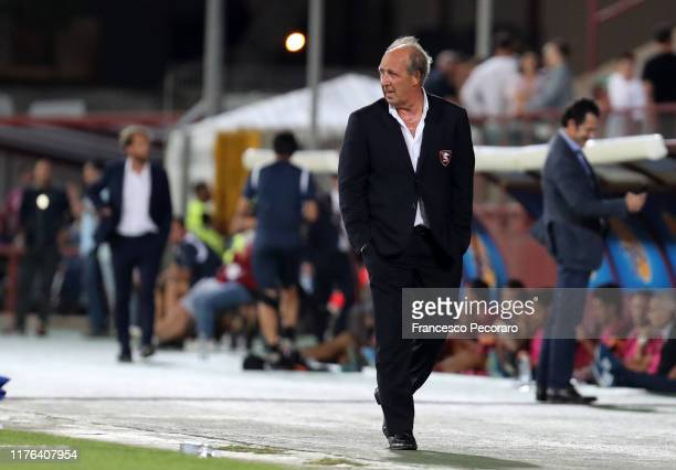 Coach of US Salernitana Gian Piero Ventura gestures during the Serie B match between Trapani Calcio and US Salernitana on September 22, 2019 in...