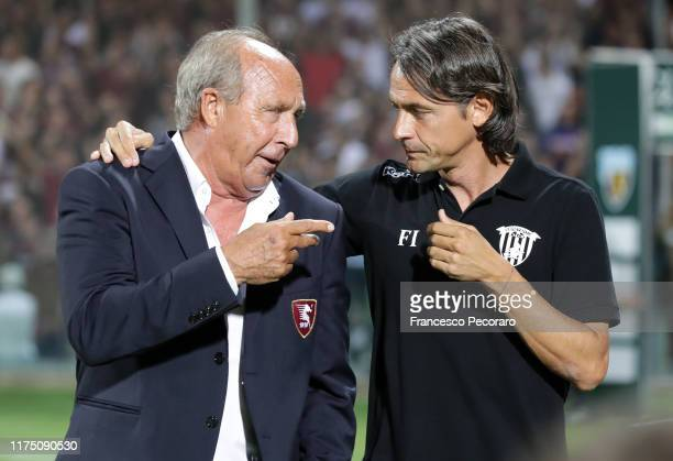 Coach of US Salernitana Gian Piero Ventura greets coach of Benevento Calcio Filippo Inzaghi before the Serie B match between Salernitana and...
