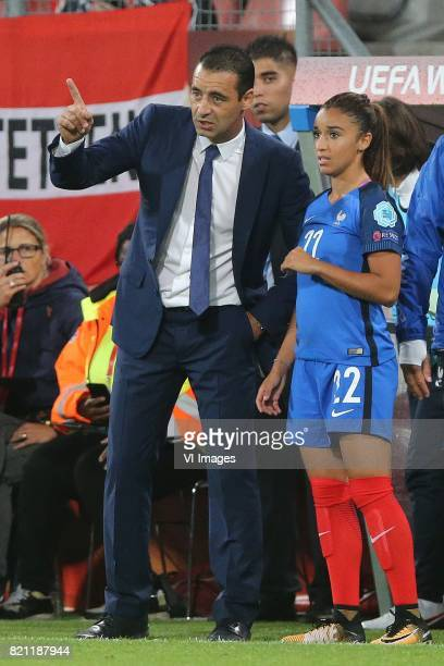 coach Olivier Echouafni of France women Sakina Karchaoui of France women during the UEFA WEURO 2017 Group C group stage match between France and...