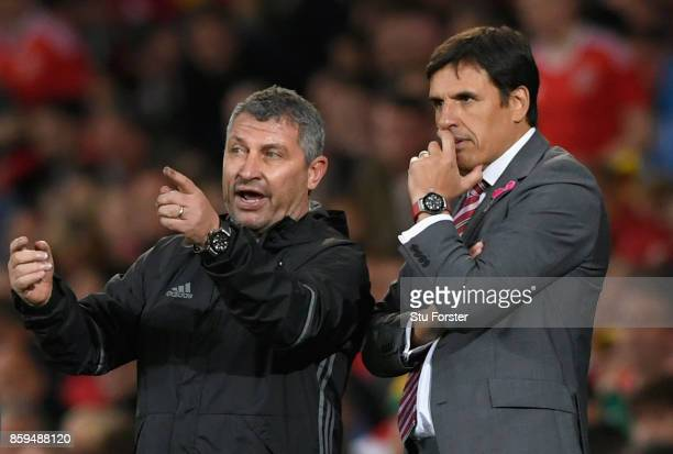 Coach Osian Roberts and Chris Coleman Manager of Wales look on during the FIFA 2018 World Cup Group D Qualifier between Wales and Republic of Ireland...