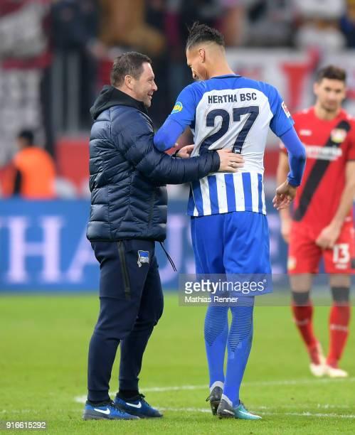coach Pal Dardai and Davie Selke of Hertha BSC after the first Bundeliga game between Bayer 04 Leverkusen and Hertha BSC at BayArena on February 10...