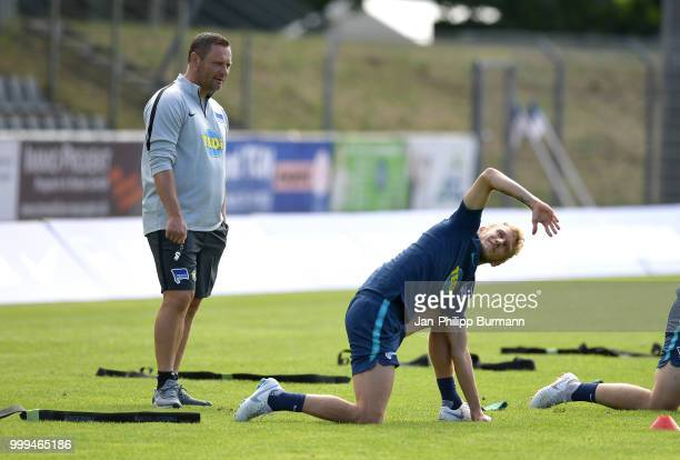 coach Pal Dardai and Fabian Lustenberger of Hertha BSC during the training camp at VolksparkStadion on July 15 2018 in Neuruppin Germany