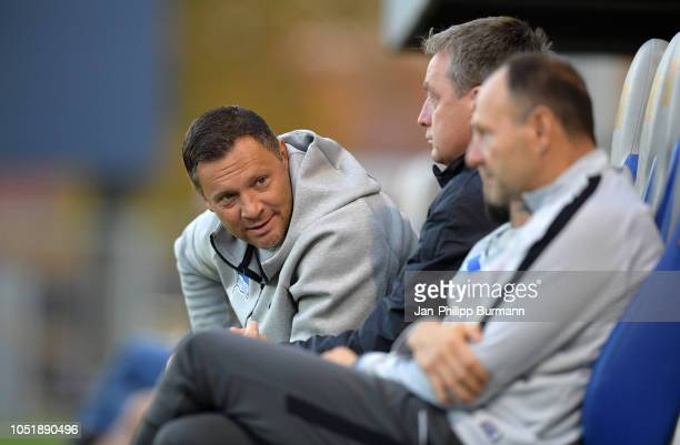 Coach Pal Dardai of Hertha BSC and assistant coach Rainer Widmayer of Hertha BSC during the friendly match between Hertha BSC and the SV Babelsberg...