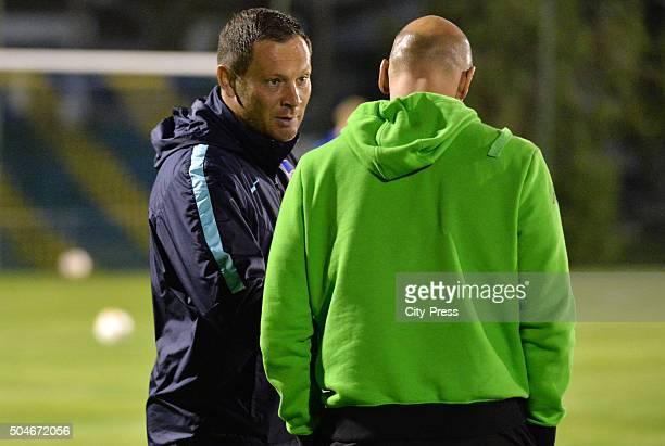 Coach Pal Dardai of Hertha BSC and coach Andre Schubert of Borussia Moenchengladbach during the test match between Borussia Moenchengladbach against...