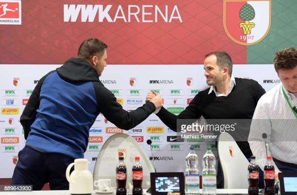 coach Pal Dardai of Hertha BSC and coach Manuel Baum of FC Augsburg after the game between dem FC Augsburg and Hertha BSC on december 10 2017 in...