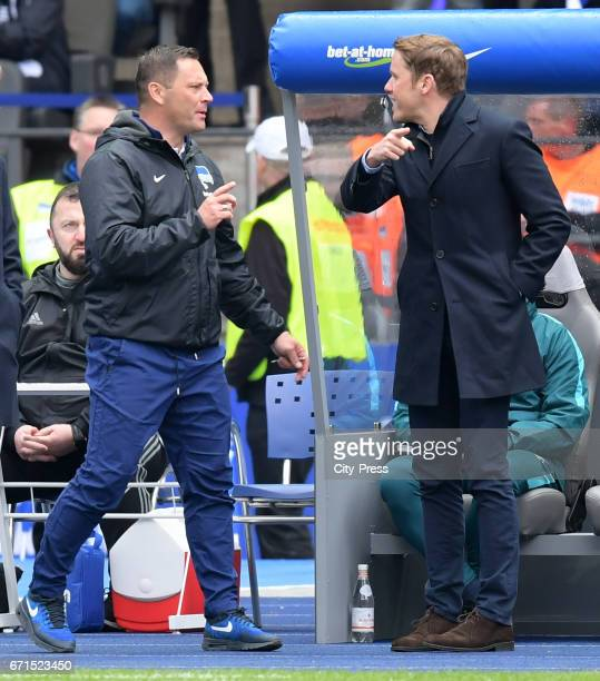 Coach Pal Dardai of Hertha BSC and Olaf Rebbe of VfL Wolfsburg after the game between Hertha BSC and dem VfL Wolfsburg on april 22 2017 in Berlin...