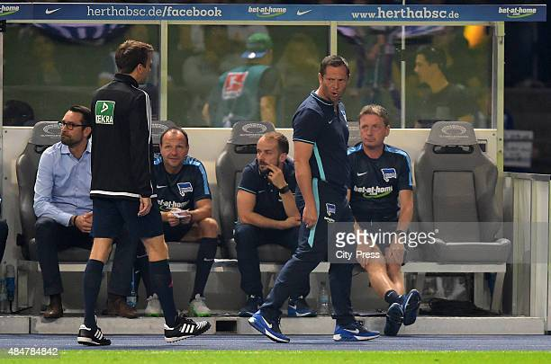 coach Pal Dardai of Hertha BSC cries during the game between Hertha BSC and Werder Bremen on August 21 2015 in Berlin Germany