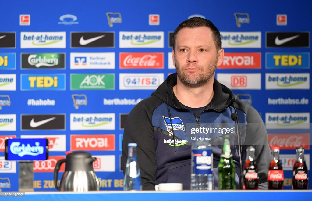 Coach Pal Dardai of Hertha BSC during the press conference after the first Bundesliga game between Hertha BSC and 1st FSV Mainz 05 at olympiastadion on February 16, 2018 in Berlin, Germany.