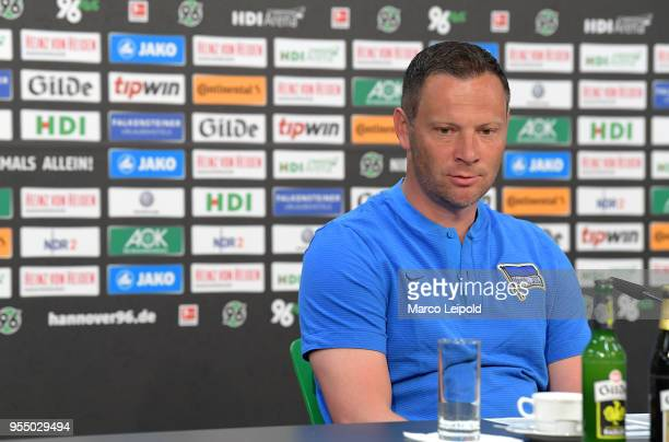 coach Pal Dardai of Hertha BSC during the press conference after the Bundesliga game between Hannover 96 and Hertha BSC at HDI Arena on May 5 2018 in...