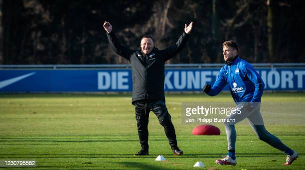 Coach Pal Dardai of Hertha BSC is jubilating during the training session at Schenckendorffplatz on January 26, 2021 in Berlin, Germany.