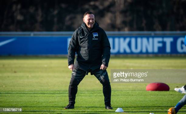Coach Pal Dardai of Hertha BSC is laughting during the training session at Schenckendorffplatz on January 26, 2021 in Berlin, Germany.