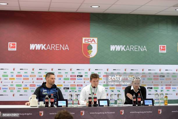 coach Pal Dardai of Hertha BSC spokesman Dominik Schmitz and coach Manuel Baum of FC Augsburg after the game between dem FC Augsburg and Hertha BSC...