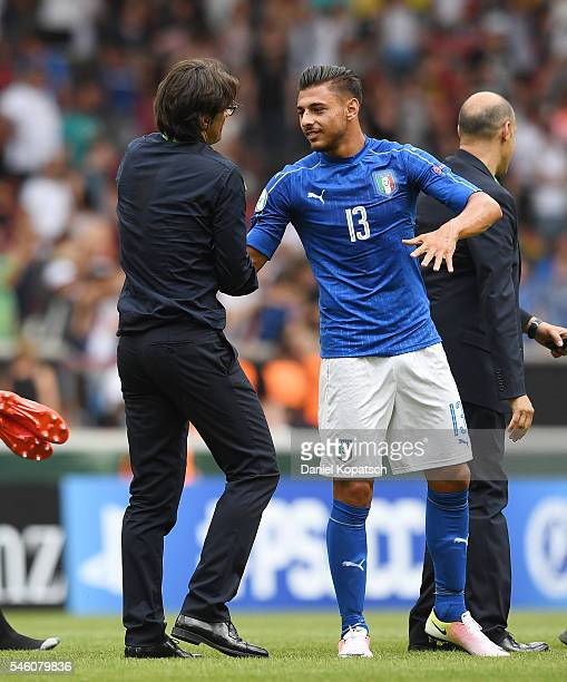 Coach Paolo Vanoli of Italy and Giuseppe Pezzella of Italy react after the UEFA Under19 European Championship match between U19 Germany and U19 Italy...