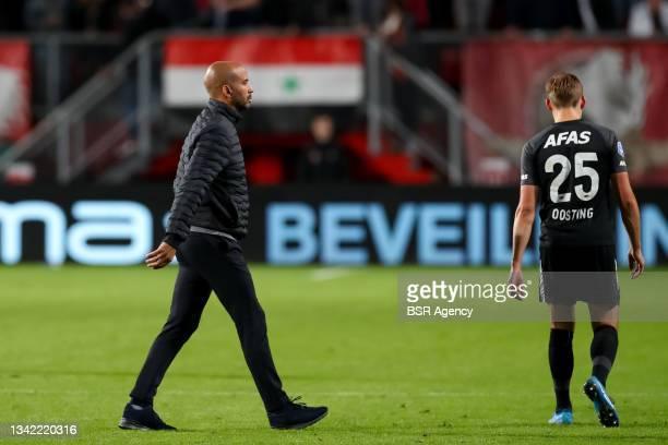 Coach Pascal Jansen of AZ looks dejected during the Dutch Eredivisie match between FC Twente and AZ at De Grolsch Veste on September 23, 2021 in...