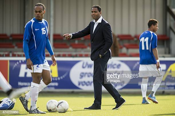 Coach Patrick Kluivert of Curacao during the International friendy match between Curacao and Suriname on May 20, 2015 at the Almere-City stadium in...