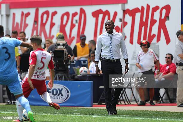 Coach Patrick Vieira on the sideline during the New York Red Bulls Vs New York City FC MLS regular season match at Red Bull Arena, Harrison, New...
