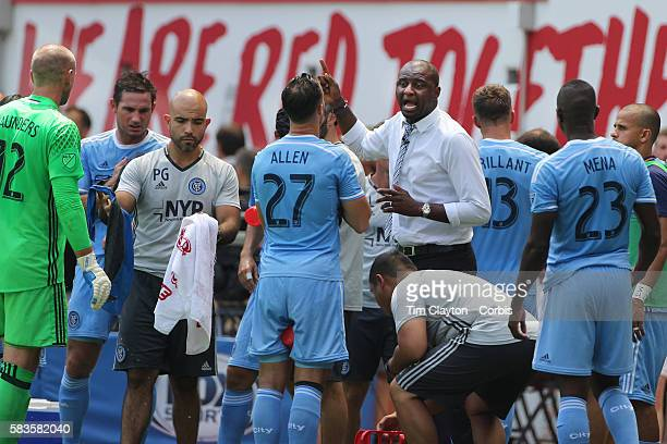 NYCFC coach Patrick Vieira talking to his players during a drinks break in searing heat during the New York Red Bulls Vs New York City FC MLS regular...
