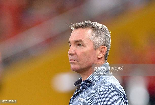 Coach Paul Green of the Cowboys watches his players warmup before the round four NRL match between the Brisbane Broncos and the North Queensland...