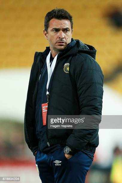 Coach Paul Okon of the Mariners looks on during the round eight ALeague match between the Wellington Phoenix and the Central Coast Mariners at...