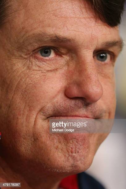 Coach Paul Roos reacts during a Melbourne Demons AFL media session at AAMI Park on March 17 2014 in Melbourne Australia