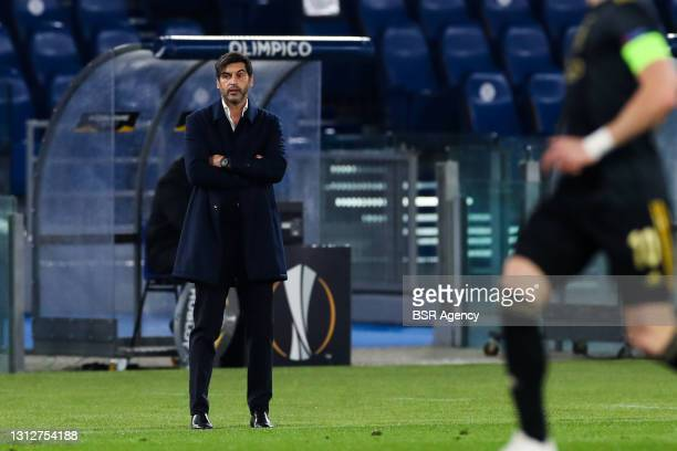 Coach Paulo Fonseca of AS Roma during the UEFA Europa League Quarter Final: Leg Two match between AS Roma and Ajax at Stadio Olimpico on April 15,...
