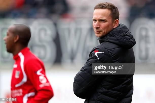 coach Pepijn Lijnders of NEC Nijmegen during the Dutch Jupiler League match between NEC Nijmegen v Telstar at the Goffert Stadium on April 2 2018 in...