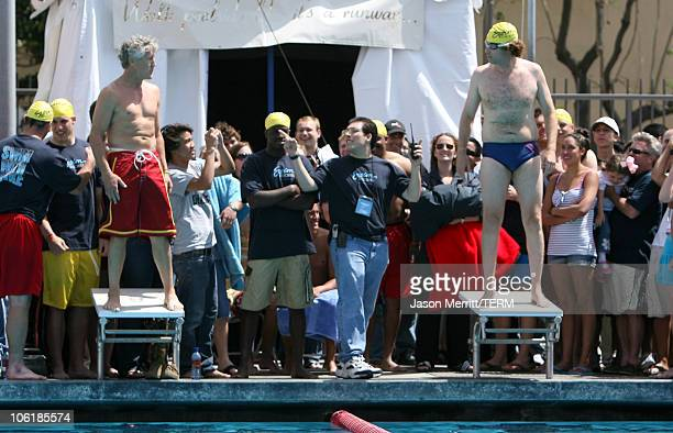 """Coach Pete Carroll and Will Ferrell during USC """"Swim With Mike"""" Awards and the 27th Annual Swim-A-Thon at USC McDonald's Swim Stadium in Los Angeles,..."""