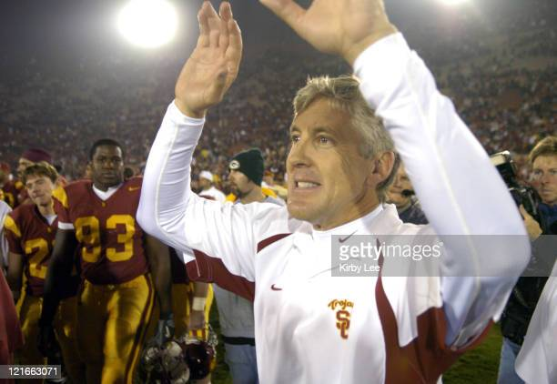 USC coach Pete Carroll celebrates 499 victory over Arizona in Pacific10 Conference football game at the Los Angeles Memorial Coliseum on Saturday Nov...