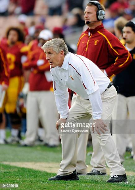 Coach Pete Carroll of the USC Trojans reacts after the Arizona Wildcats scored a touchdown to win 2117 during the NCAA college football game at the...