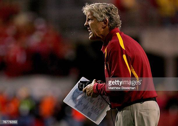 Coach Pete Carroll of the USC Trojans shouts instructions to his team while they play the Nebraska Cornhuskers on September 15 2007 at Memorial...
