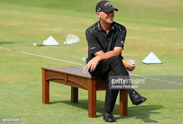 Coach Pete Cowen observes on the practice range during day three of the DP World Tour Championship at Jumeirah Golf Estates on November 19 2016 in...