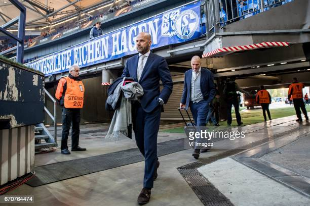 coach Peter Bosz of Ajaxduring the UEFA Europa League quarter final match between Schalke 04 and Ajax Amsterdam on April 20 2017 at the VeltinsArena...