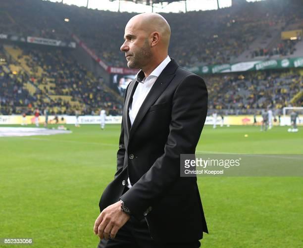 Coach Peter Bosz of Dortmund before the Bundesliga match between Borussia Dortmund and Borussia Moenchengladbach at Signal Iduna Park on September 23...