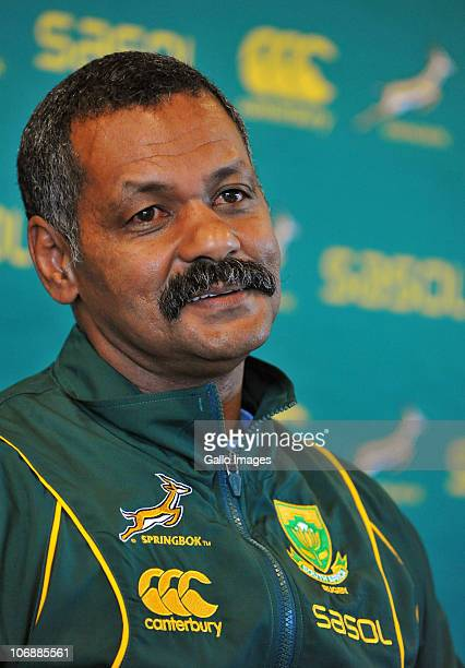 Coach Peter de Villiers during the South African team media conference at Peffermill Clubhouse on November 15 2010 in Edinburgh Scotland