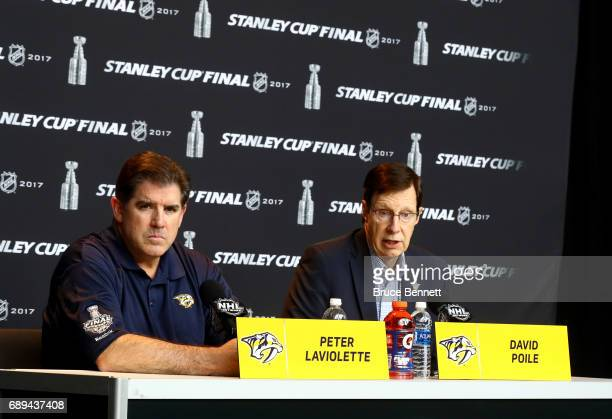 Coach Peter Laviolette and General Manager David Poile of the Nashville Predators answer questions during Media Day for the 2017 NHL Stanley Cup...