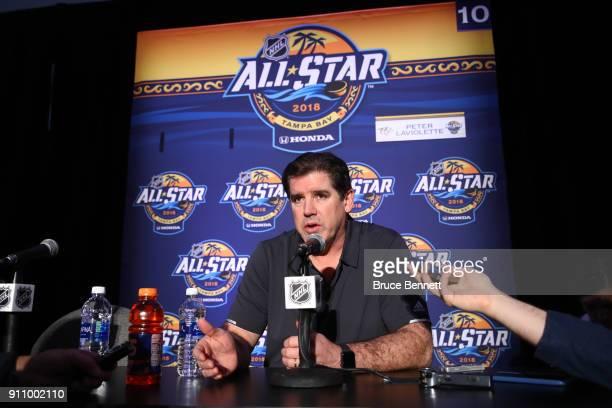 Coach Peter Laviolette of the Nashville Predators addresses the media during Media Day for the 2018 NHL All-Star at Grand Hyatt Hotel on January 27,...