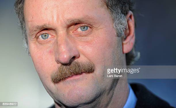 Coach Peter Neururer of Duisburg is seen prior to the 2nd Bundesliga match between MSV Duisburg and 1 FC Kaiserslautern at the MSV Arena on December...