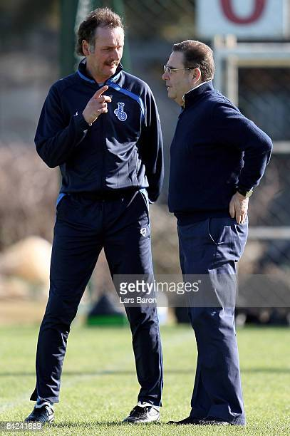 Coach Peter Neururer speaks with president Walter Hellmich during the MSV Duisburg training camp at the Rixos Hotel on January 11 2009 in Belek Turkey
